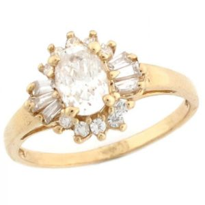 10k Solid Yellow Gold Oval CZ Baguette Promise Ring