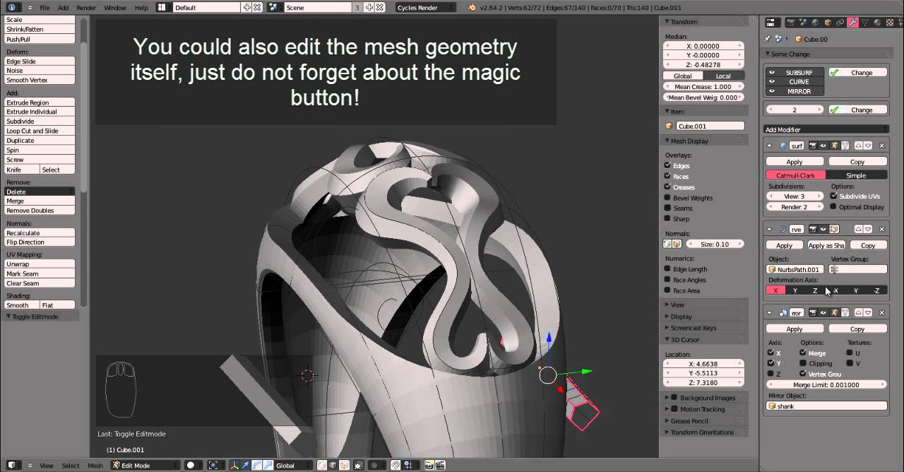 Jewelry Design Tutorial: Creating a model for a 3D printer with Blender and netfabb