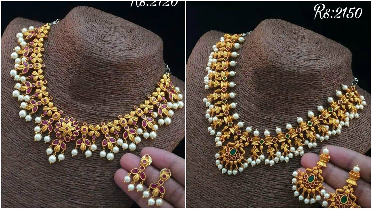 Latest 1 Gram Gold Necklace Sets With Price